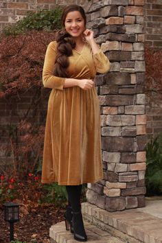 Our Cami velvet dresses are lovely! These are thicker velvet, available in mustard and black. ❤️