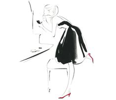 Sillage | illustrator YOCO Fashion Illustration Collage, Illustration Sketches, Art Sketches, Art Drawings, Illustrations, Fashion Design Drawings, Fashion Sketches, Sketch Painting, Simple Art