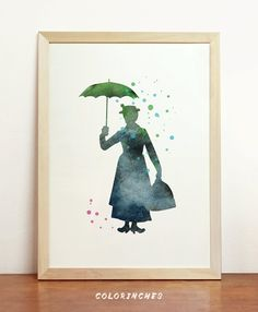 Mary Poppins Watercolor British Silhouette Inspired by Colorinches