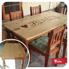 Woodoc Water-Borne FLOOR and Woodoc Colours were used to revamp this dining table. Dining Table, Indoor, Colours, Flooring, Rustic, Wood, Water, Furniture, Home Decor