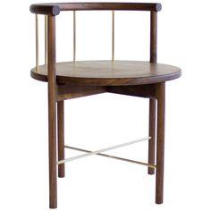 Lloyd Modern Walnut and Brass Dinning Chair