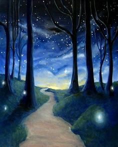 Night Forest Painting #beautiful! Wish i was there right now