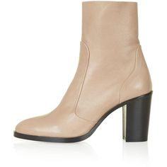 TOPSHOP MAGNIFICENT Sock Boots (£79) ❤ liked on Polyvore featuring shoes, boots, ankle booties, nude, nude boots, ankle boots, tall leather boots, topshop booties and bootie boots