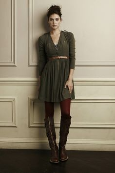 love the earth tones with burgundy tights and tan boots by angeline
