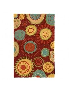 Bursts of color in abstract floral shapes adorn the Company C Sundew Indoor/Outdoor Area Rug . Enjoy this modern area rug inside or out thanks to its. Hand Hooked Rugs, Orange Rugs, Modern Area Rugs, Indoor Outdoor Area Rugs, Outdoor Living, Outdoor Decor, Red Pattern, Rug Hooking, Floor Rugs