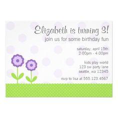Purple and Green Daisy Polka Dots Birthday Party Custom Invites