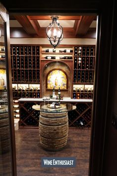 Wine Enthusiast has a great selection of custom cellars. We can design a cellar to fit your needs and enhance your collection! Wine Cellar Racks, Wine Rack, Cooling Unit, Wine Cellar Design, Wine Collection, Wine Storage, Can Design, Design Consultant, Wood Species