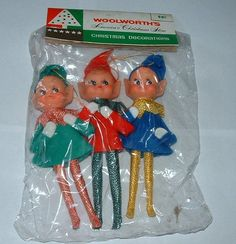 Vintage made in Japan Woolworth's brand Pixie/Elf Christmas decorations MIB