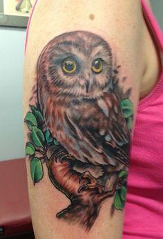Done by Trevor J at Adrenaline Toronto. #tattoos #toronto #adrenalinetoronto #colourtattoos #owl #owltattoos #torontotattoos