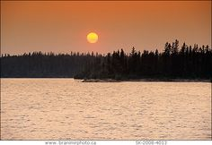 Sunset on Churchill River, Saskatchewan near Stanley Mission.