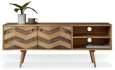 Swoon Editions Media unit, Mid-century style in Mango wood - Swoon Editions, Media Unit, Retro Ideas, Tv Cabinets, Mid Century Style, Mid Century Modern Furniture, Living Room Furniture, Mid-century Modern, The Unit