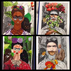 rie copenhagen:  ART LESSON #8 - ME AND FRIDA MIXED MEDIA FRIDA KAHLO ART LESSON