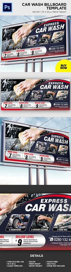Buy Car Wash Billboard Template by on GraphicRiver. Car Wash Billboard Template All elements beside the image are fully editable CMYK – print ready Letter: in. Express Car Wash, Social Media Poster, Billboard, Postcards, Window, Graphics, Templates, Lettering, Logo