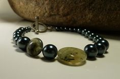 Blue-green loveliness for your wrist - Swarovski Pearls and Prehnite 'Coin' Bracelet by ksyardbird on Etsy, $12.00