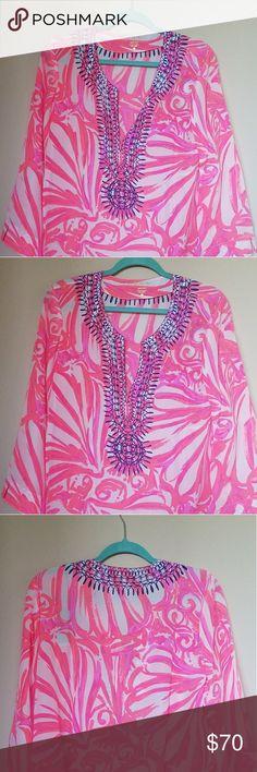 "Lilly Pulitzer Amelia island tunic L, NWT ""Pink sun ray shimmy shimmy"" nwt Silk Lilly Pulitzer Tops Tunics"