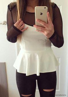 Studded Mesh Peplum Top- Long Sleeves Studded Mesh Peplum Top  http://cutthefatpodcast.com/1307/cut-the-fat-blog/weight-loss-blogs-worth-visiting