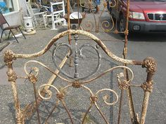 Antique Ornate Victorian Cast Iron Bed with Brass Heart Accents