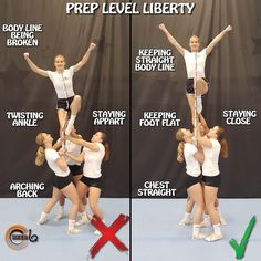 cheer workouts Dos and donts in liberty prep stunt . It is really important that the flyer keeps her body line straight. Shoulder and hips need to be Easy Cheerleading Stunts, Cool Cheer Stunts, Cheer Tryouts, Cheerleading Cheers, School Cheerleading, Cheer Coaches, Cheer Dance Routines, Cheer Moves, Cheer Jumps