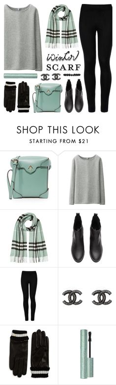 """Winter Scarf Style"" by lgb321 ❤ liked on Polyvore featuring MANU Atelier, Uniqlo, Burberry, Wolford, Chanel, Kate Spade, Too Faced Cosmetics, Gucci, Winter and scarf"