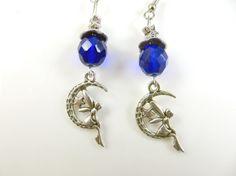 Cobalt blue moon fairy earrings by TheEarringExpress on Etsy