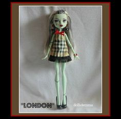 Monster Doll Clothes  LONDON Dress and Jewelry Set  by DOLLS4EMMA