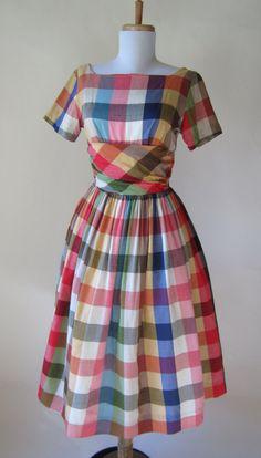 Vintage 1950s Plaid Dress // Shantung Silk.