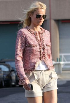 love the chanel jacket and cuffed shorts.
