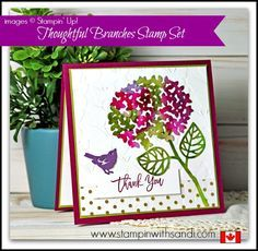 Stampin Up Thoughtful Branches Watercolored square card by Sandi…