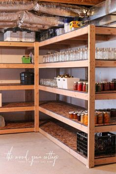 Diy Basement Shelving - The Wood Grain Cottage DIY Shelving - The Wood Grain Cottage basement shelving - Basement Basement Storage Shelves, Garage Storage, Diy Shelving, Garage Organization, Organization Ideas, Storage Ideas, Storage Room, Craft Storage, Storage Baskets