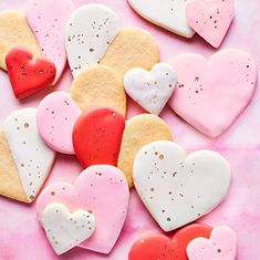 Decorating cookies for Valentines Day - heart sugar cookies