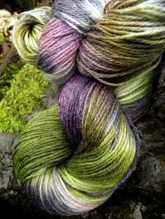 Handpainted sock yarn,Superwash Merino Bamboo Nylon, 350 yards-Fey