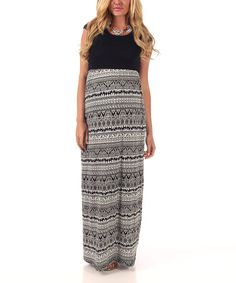 ae25d15a3e PinkBlush Maternity Black & White Elephant Maternity Maxi Dress - Women