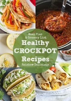 Five Healthy Crockpot Recipes to make feeding your family dinner easy this week! We loved all of these easy meals- taquitos, chicken fajitas, tacos, chili and soup.