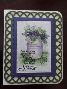 Art Impressions Rubber Stamps: Wonderful Water Color. Handmade watercolor card. milk jug flower pot foliage