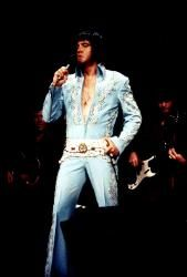 More widely called the Wheat suit .. This is the third suit Elvis worn during his 4 show appearance at New Yorks Madison Square Garden in June 1972. Worn at the afternoon show this suit had a matching gold lined cape.