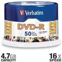 Verbatim - 50-Pack 16x DVD-R Disc Spindle 97176 by Verbatim. $17.14. Verbatim DVD-R Life Series offers 4.7GB or 120 Minutes of write-once storage capacity, good recording quality and compatibility with 1X to 16X DVD-R writers. Verbatim's DVD-R Life Series 16X media allows users to record up to 4.7GB of data or 2 hours of video in approximately 5 minutes. With good read/write performance rely on Verbatim to capture life's events. Pack Size: 50. Capacity: 4.7GB. Write Speed: 16X....