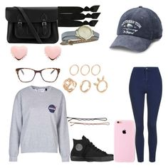 """Untitled #16"" by vidbes on Polyvore featuring Topshop, Converse, The Cambridge Satchel Company, Emi-Jay, Ted Baker and Prism"