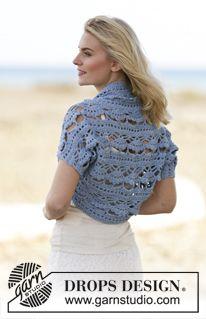 """Crochet DROPS shoulder piece in """"Paris"""". Size S-XXXL ~ DROPS Design"""