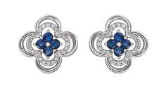 14-karat white gold sapphire and diamond Clover earrings.
