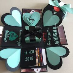 Gift Box Explosion Box With Gift Box, 4 Waterfall In Black & Tiffany Exploding Box For Boyfriend, Exploding Gift Box, Bday Gifts For Him, Surprise Gifts For Him, Surprise Ideas, Birthday Explosion Box, Birthday Box, Album Photo Original, Explosion Box Tutorial