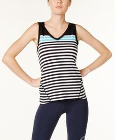 Calvin Klein Performance Hooded Striped Tank Top - Blue XL