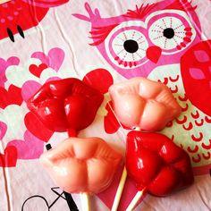 Whoo whoo wants a Kiss? Hot lips candy lollipops