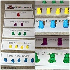 Counting Bears Printable! Help your preschooler practice colors, numeral recognition and one to one correspondence with these free mats!