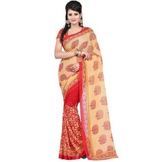 Stylish Multicolor Color Faux Georgette Printed Saree at just Rs.430/- on www.vendorvilla.com. Cash on Delivery, Easy Returns, Lowest Price.
