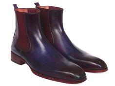 Paul Parkman Navy & Purple Chelsea Boots (ID#BT552PUR)