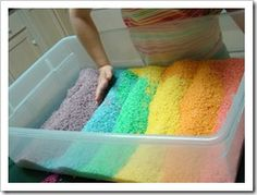 Rainbow Rice- would be a great sensory table activity if you had a bunch of 3-6 year olds