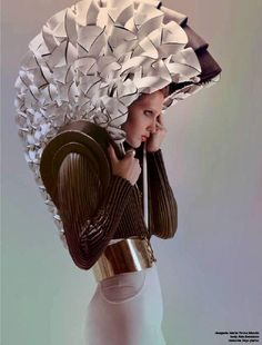 Waiting for the nuclear attack Paper Fashion, 3d Fashion, Origami Fashion, Fashion Design, Textiles, Avantgarde, Body Adornment, Sculptural Fashion, Future Fashion