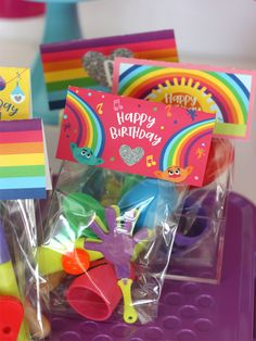troll birthday party rainbow favor toppers image 6