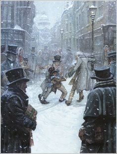 from A Christmas Carol by Charles Dickens. a London street. Illustrator P. J. Lynch.
