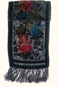 Vintage Black Silk Velvet fringed scarf colorful neck scarf  Women accessories